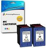 Printing Pleasure 2 Druckerpatronen für HP Photosmart 7350 7600 7150 7550 PSC 2510 2110 2210 Deskjet 5150 5550 450cbi 450ci Officejet 6110 6150   kompatibel zu HP 57 (C6657AE) & HP 58 (C6658AE)