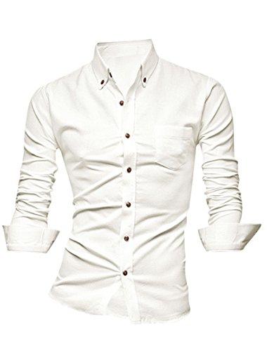 Herren Einreihig One Brusttasche Runder Saum Slim Freizeithemd Blanco