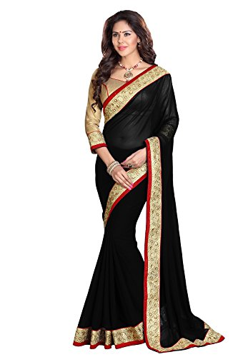 SOURBH Faux Georgette Saree (7101_Black) Faux Georgette Saree