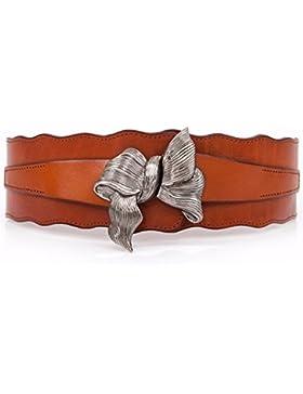 Correa elástica mujer decorar vestir el cuero cintura cinturón ancho nudo mariposa sello