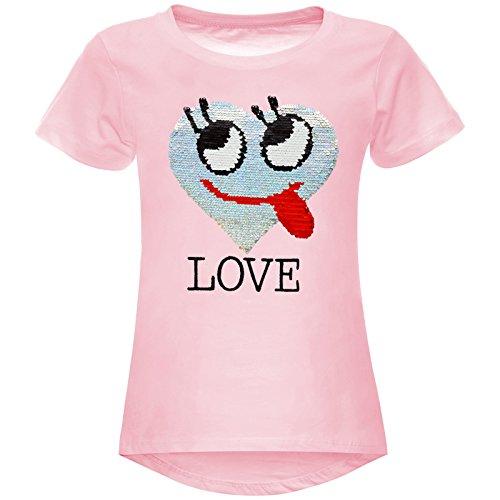 BEZLIT Mädchen Wende-Pailletten T-Shirt Herz Love Motiv 22605 Rosa Größe 140