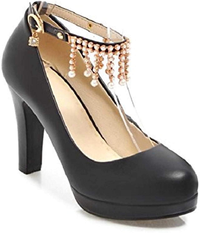 GTVERNH-Ranurado Audaces Y Amarre 10Cm Alto-Heel Shoes La Primavera Y El Otoño Cabeza Redonda Solo Zapatos Luz...