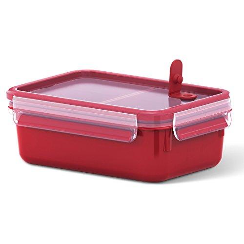 Emsa Mikrowellendose, Lunchbox, Mit Einsätzen, 1,0 Liter, Rot/Transparent, Clip und Micro, 517774