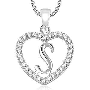 MEENAZ Valentine Gifts Silver 'S' Letter Alphabet Jewellery Necklace Pendants Chain Pendant for Girls Women Men Boyfriend Girlfriend Boys Kids Unisex -PS 482