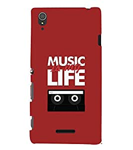 Music Is My Life 3D Hard Polycarbonate Designer Back Case Cover for Sony Xperia T3