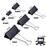 HyAiderTech Clip Doppio, Fermasacco Clip, 90 Pezzi FoldBack Binder Clips Carta per metallo Binder Clamps per Note Letter Paper Clip Office Supplies, 6 formati assortiti, Nero