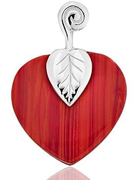 DTPsilver - Anhänger 925 Sterling Silber mit Rote Koralle Herz