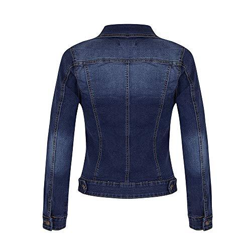 Damen Tasche Jeansjacke, LeeMon Women Mantel lässig Langarm Tasche Knopf Denim Jacke Mantel