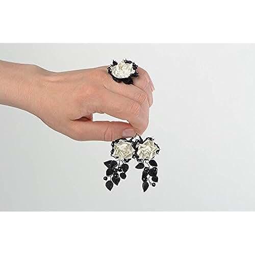 figuras kawaii porcelana fria Juego de accesorios de porcelana fria artesanal pendientes largos y anillo