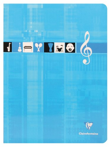 ClaireFontaine - Réf 3307C - Cahier Piqué Musique et Chant 24x32 cm 48 Pages Grands Carreaux 90 g et Portées Coloris Aléatoire vendu à l'Unité
