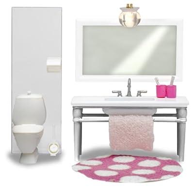 Lundby Småland 60.2049.00 - Cuarto de baño miniatura para casa de muñecas (lavabo con espejo y retrete, escala 1:18), color blanco de Lundby