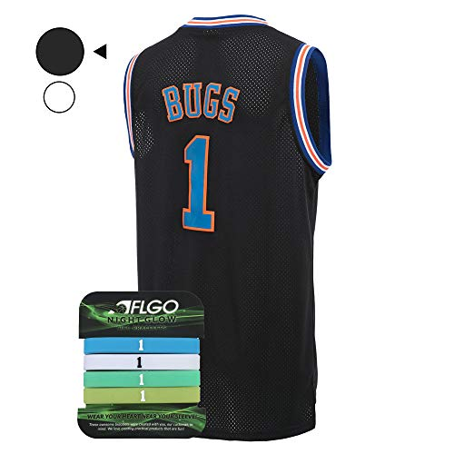 94f6b9d0cdfd AFLGO Bug Space Jam Jersey Basketball Jersey Include Set GLOW IN THE DARK  Wristbands S-
