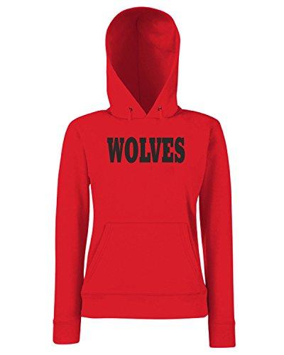 T-Shirtshock - Sweats a capuche Femme WC0780 WOLVES WOLVERHAMPTON Rouge