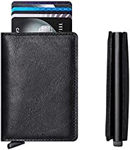 Other Genuine Leather Aluminium Slim Secure Id Wallet With Rfid For Unisex. 8 Cards + Cash. Flip Eject Option