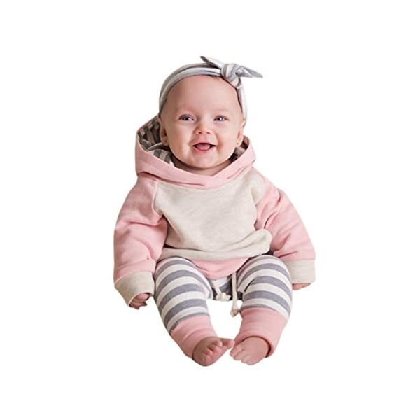 Voberry Toddler Baby Boy Girl Clothes Set Hoodie Tops+Pants+Headband Outfits For 0-2 Years old