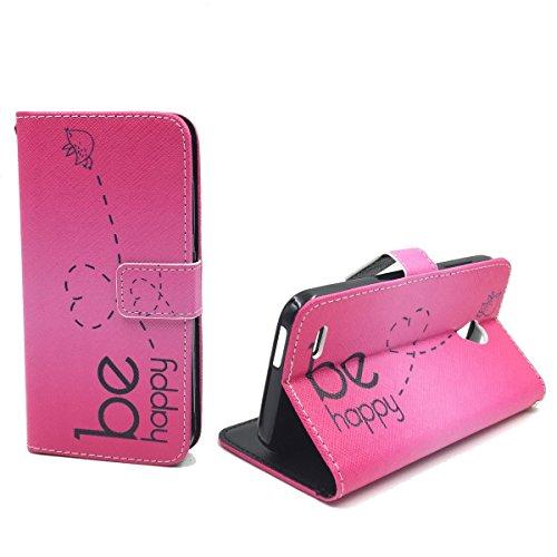 König-Shop Handy-Hülle Kompatibel mit Sony Xperia M4 Aqua Schutz-Case Flip-Cover Klapp-Tasche Book-Style Wallet Motiv - Be Happy Pink