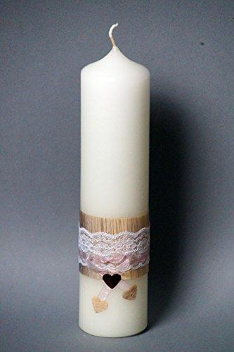 Preisvergleich Produktbild Hochzeitskerze  Vintage  mit Spitze , 25 x 6 cm ; inkl. Beschriftung ! T-20