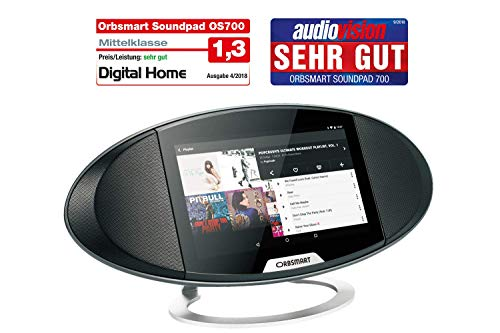 Orbsmart Soundpad 700 Android Internetradio 7-Zoll (17,8cm) Display | Webradio | Küchenradio | Büroradio (Octacore CPU, WLAN-ac, Bluetooth 4.0, Stereo-Lautsprecher, Spotify, YouTube, Skype)