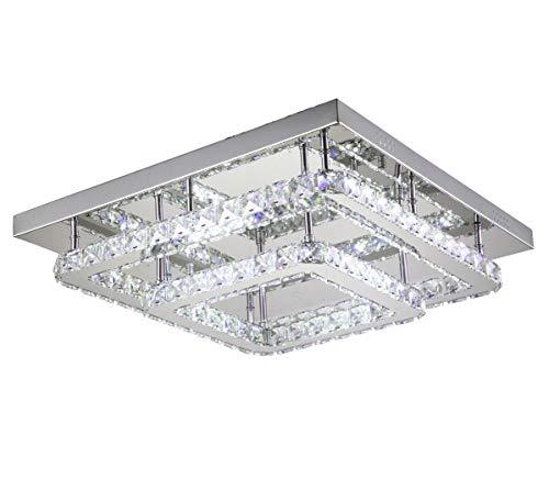 Dimmbar Led Decken Lampe Kristall Farbtemperatur steuerbar Warm Neutral Kalteiß Leuchte mit FB 40x40cm Lewima Ohmerus