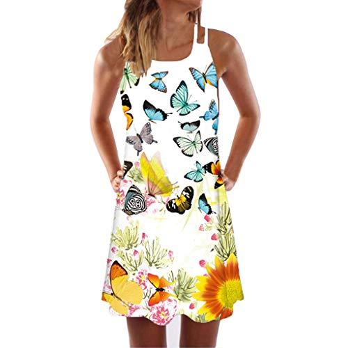 VEMOW Sommer Elegante Damen Frauen Lose Vintage Sleeveless 3D Blumendruck Bohe Casual Täglichen Party Strand Urlaub Tank Short Mini Kleid -