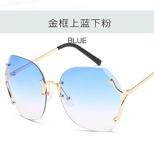 MJDABAOFA Sonnenbrillen Frauen Männer Sonnenbrille Gold Frame Farbverlauf Blau Große Rahmenlose Marine Sonnenbrille Für Dame Frau Und Männer Sonnenbrille