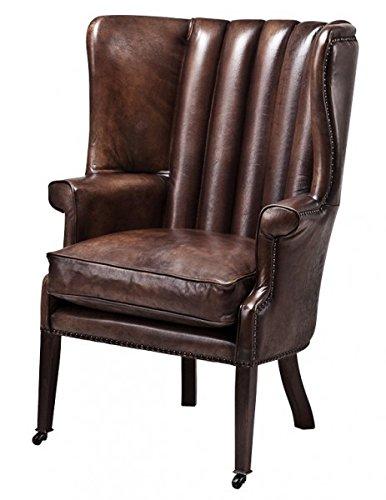 Casa Padrino Luxus Echtleder Ohrensessel Elegance Chesterfield Vintage Dunkelbraun - Sessel mit echtem Leder