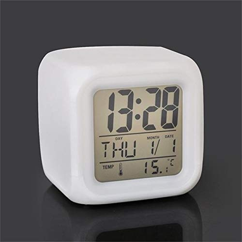 LITIANTIAN Led Wecker Digital Desktop Uhr Nachtlicht In dunklen Würfeln LCD Uhr Thermometer Home Dekoration 7 Farben pro weiß
