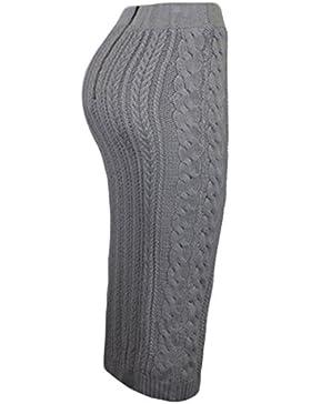 Las Mujeres De Cintura Alta De Punto Otoño Vestido Slinky MIDI