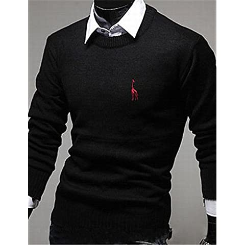 XX&GX moda ubanni camicia silm rotonda del collare del ricamo manica lunga shirt_black , black , xxl