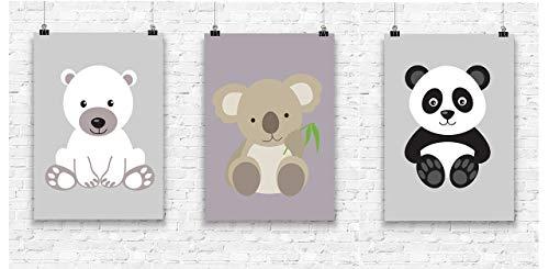 Prints 3er Set Format A4 Bärenbande Koala Panda Eisbär Bild Kinderzimmer Wanddeko ohne Rahmen