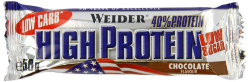 Weider 32147 Low Carb High Proteine Bar, Cioccolato, 24 barre da 50g