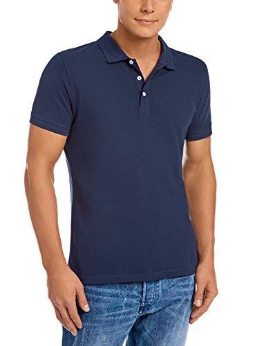 oodji Ultra Herren Pique-Poloshirt, Blau, DE 56/XL