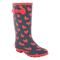Spot On Womens/Ladies Heart Print Wellington Boots (4 UK) (Navy/Red)