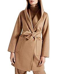 44d498b554be Screenes Frauen Coat Langarm Winter Mit Damenmantel Dicke Mantel Warm  Casual Kapuze Vintage Elegante Lang Wollmantel Outwear…