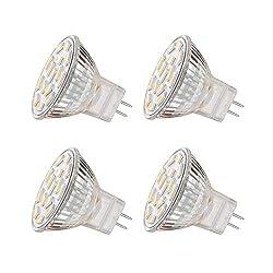 EKSAVE MR11 GU4.0 3.5W LED Glühbirnen, Äquivalent zu 25-35W Halogenlampen, GU4.0 Base AC/DC 12V, 350 LM, 120 ° Flutlichtstrahl, Einbauleuchten, Track Beleuchtung, Weiß (6000K, 4pcs)