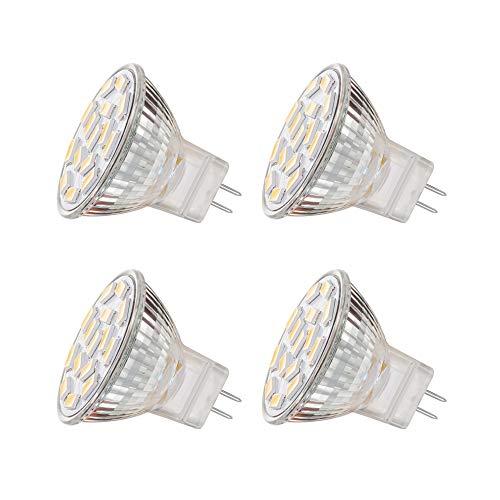 EKSAVE MR11 GU4.0 3.5W LED Glühbirnen, Äquivalent zu 25-35W Halogenlampen, GU4.0 Base AC/DC 12V, 350 LM, 120 ° Flutlichtstrahl, Einbauleuchten, Track Beleuchtung, Weiß (6000K, 4pcs) -