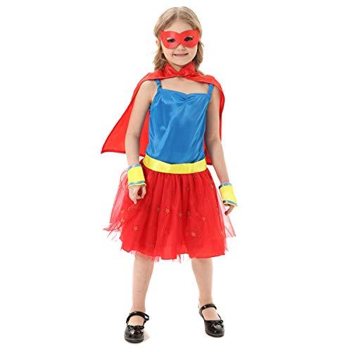 Mädchen Superhelden-Kostüm mit Umhang, Manschetten, Augenmaske (7-9