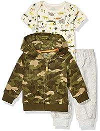 Amazon Essentials Unisex Baby 3-Piece Microfleece Hoodie Set