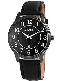 Alain Miller - Reloj de Pulsera analógico para Hombre, Aspecto de Titanio, con Fecha