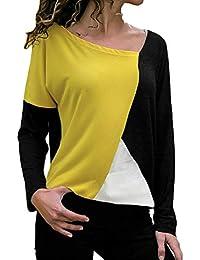 Costura Color De Contraste Cuello Redondo Manga Larga Camiseta Mujer  Top b55e2c3959a