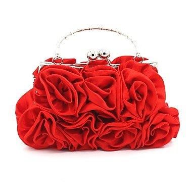 pwne Frauen Abend Tasche Seide Alle Jahreszeiten Hochzeit Event / Party Formale Square Mini Spot Rüschen Kette Keine Spange Apricot Rot Silber Schwarz Weiß Red