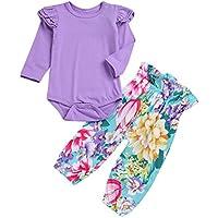 Luckycat Niños Conjunto de Sudadera Niña Jersey de Manga Larga Color Liso+Pantalones con Correa de Algodón Pijama Cuello Redondo Dos Piezas Primavera Traje Deportivo