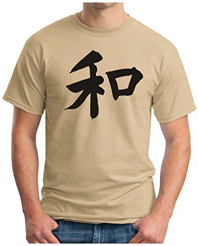 OM3 - JAPANESE HIEROGLYPH PEACE - T-Shirt FRIEDEN PACE PAIX SUSHI TOKIO YEN NIKKEI, S - 5XL Khaki