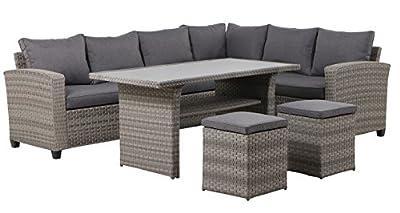 Garten Sitzgruppe Eckgruppe Panaro Rattan Set 5 teilig - Sehr schöne Lounge Sitzgruppe mit hohem Tisch ideal auch zum Essen. Flexibel stellbar, links oder rechts Kombination möglich.
