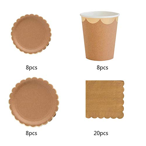 ftpapier Tasse + Teller + Servietten Party Geschirr für Hochzeit Geburtstag Set ()