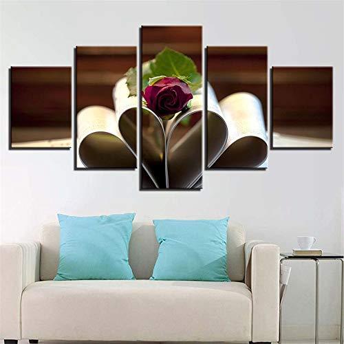 Comecong Dekorative Malerei,Fünf Bann Inkjet Buch Kaffee Blumen Kunst Malerei Mode zu Hause Kinderzimmer Malerei Kern Wandmalereien 9 Malerei Kern 20x35cmx2 20x45cmx2 20x55cmx1