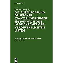 Listen in Chronologischer Reihenfolge / Lists in Chronological Order: 1