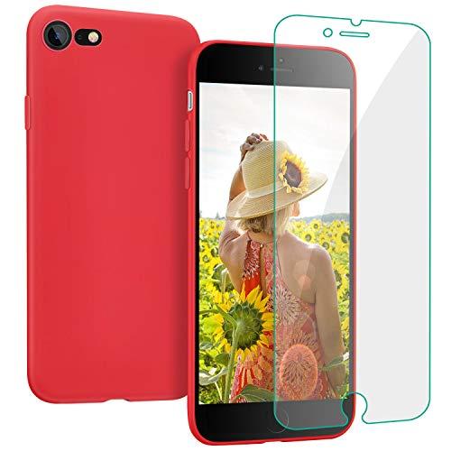 ProBien Hülle für iPhone 7 / iPhone 8, Silikon Handyhülle mit Kostenlos Panzerglas, Ultra-dünne Schutzhülle Kratzfest Bumper Case Cover für iPhone 7 / iPhone 8- Rot
