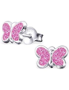 GH1a Pink Glitzer Schmetterling Ohrstecker 925 Sterling Silber Ohrringe Mädchen Kinder