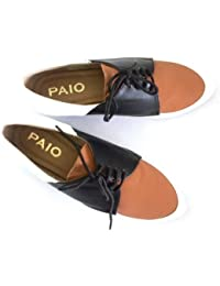 PAIO Women's Three Tone Tan, White And Black Synthetic Derby's 2.5 UK